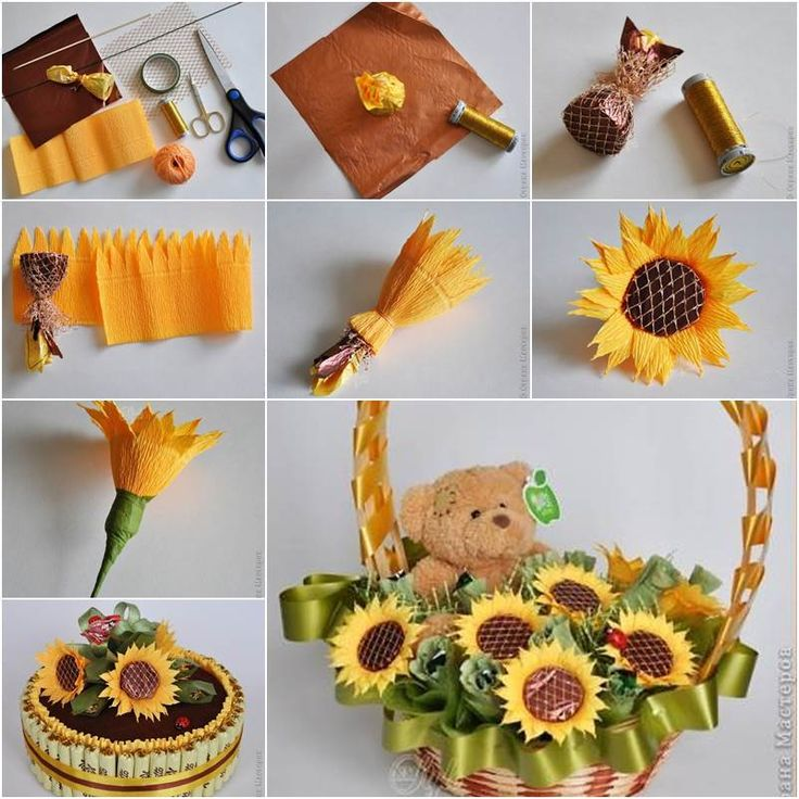 Flowers and chocolates are two common choices for gifts. Then why not combine these two awesome things and make something even more awesome? Here is a niceDIY project to make crepe paper chocolate sunflower. It looks so real and beautiful! You can use it to make a pretty flower basket …