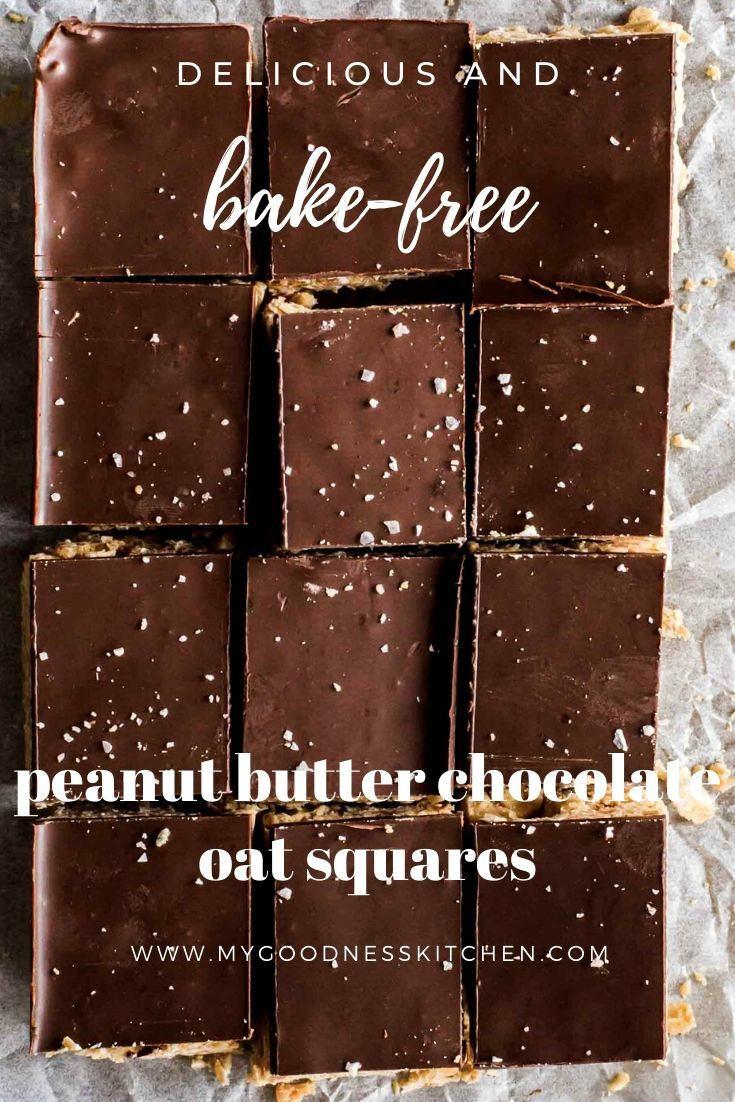 No Bake Peanut Butter Chocolate Oat Squares Recipe Vegan Chocolate Recipes Peanut Butter Vegan Dessert Recipes