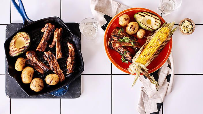 For a flame-grilled feast, try Rachel Khoo's beer-barbecued lamb ribs with corn ears and coriander vinaigrette. #rkkitchennotebook