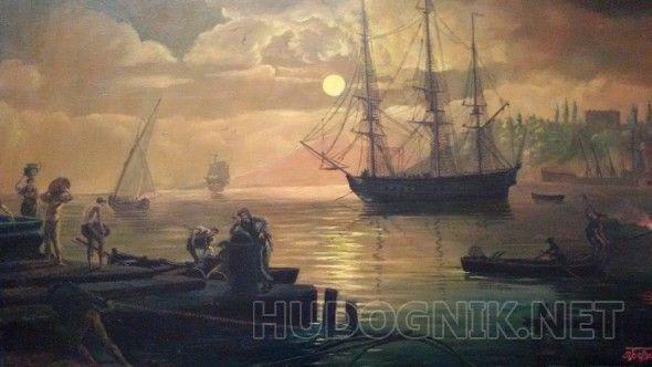 Вид в окрестностях Читта Нуова в Иллирии при лунном освещении По мотивам картины  Клода Верне