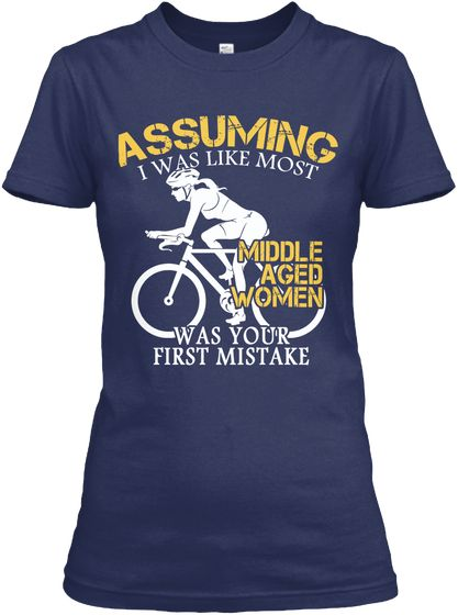 Limited   A Cyclist Middle Aged Woman Navy Women's T-Shirt Front