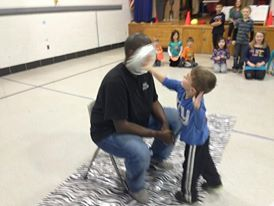 Our staff took a pie-in-the-face as a reward for great behavior!