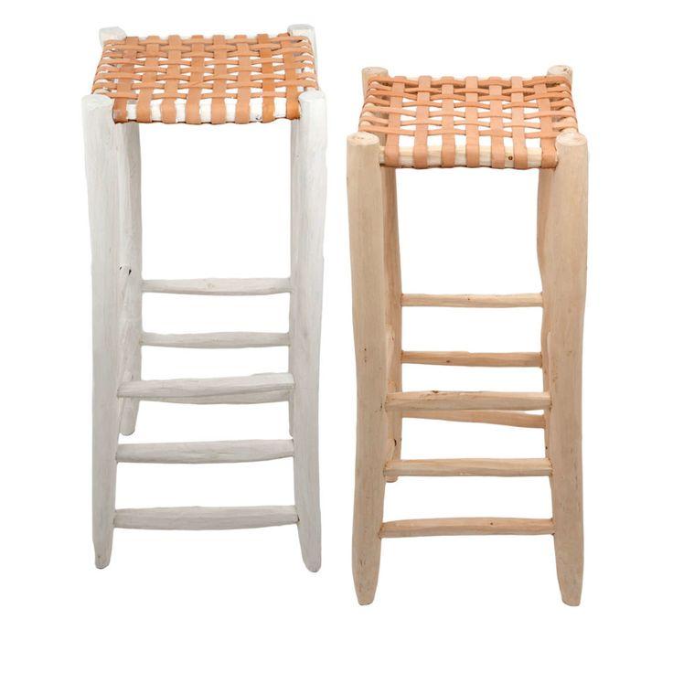 Barstools Leather Seating White Natural, maar dan het bankje