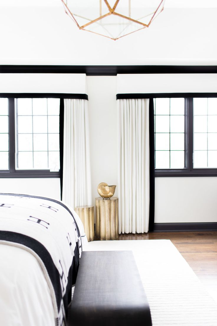 simple black, white  gold / photography: alyssa rosenheck: Ideas, Hermes Blankets, Black And White, Black White Gold, Black White Bedrooms Gold, Window Treatments, Black Trim, White Wall, Design