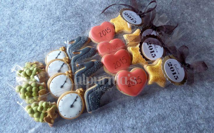 Bolsa de galletas decoradas para el Año Nuevo. Happy new year cookies