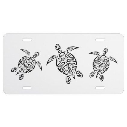 Turtles Animal Tribal Tattoo License Plate - cool gift idea unique present special diy