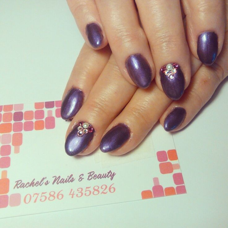 Oval Bio Sculpture Gel sculptured extensions using No. 191 Treasure Chest with Swarovski Crystals.