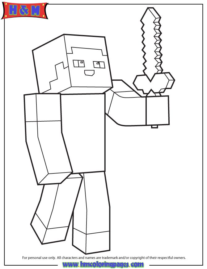 minecraft coloring pages herobrine - minecraft person holding sword coloring page h m