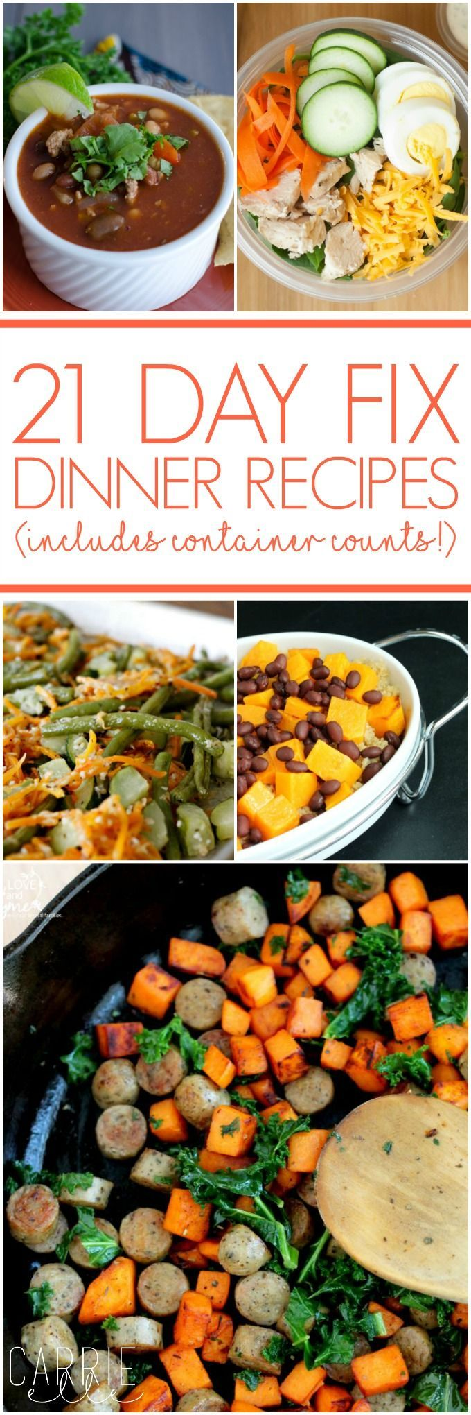 Lots of 21 Day Fix Dinner Recipes - never have the same thing twice! These are all quick and easy 21 Day Fix dinner recipes and some healthy side dishes, too - plus, the container counts are listed for each recipe!