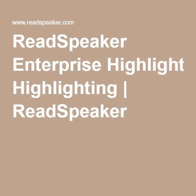 ReadSpeaker Enterprise Highlighting | ReadSpeaker