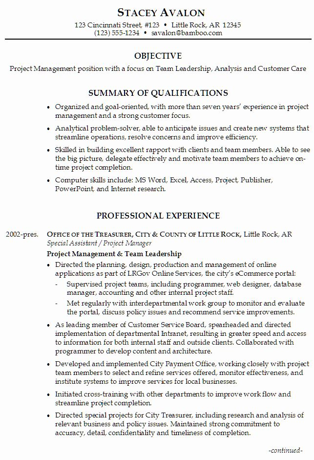 Leadership Skills Resume Examples Unique Sample Resume For Project Management Focus On Team Leadersh In 2020 Resume Skills Project Manager Resume Resume Skills Section