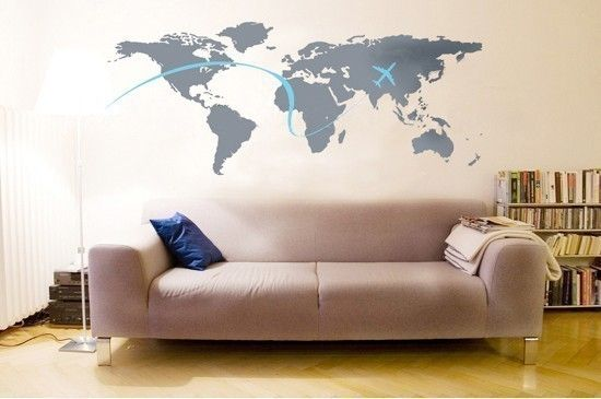 This is perfect for christina to add to her wall, and then she could put a picture of each place she has been.    World Map Murals Vinyl Decals which measures 52in.X22in and comes in black/dark grey/white for map and pink, blue and white for plane.Available for 40$