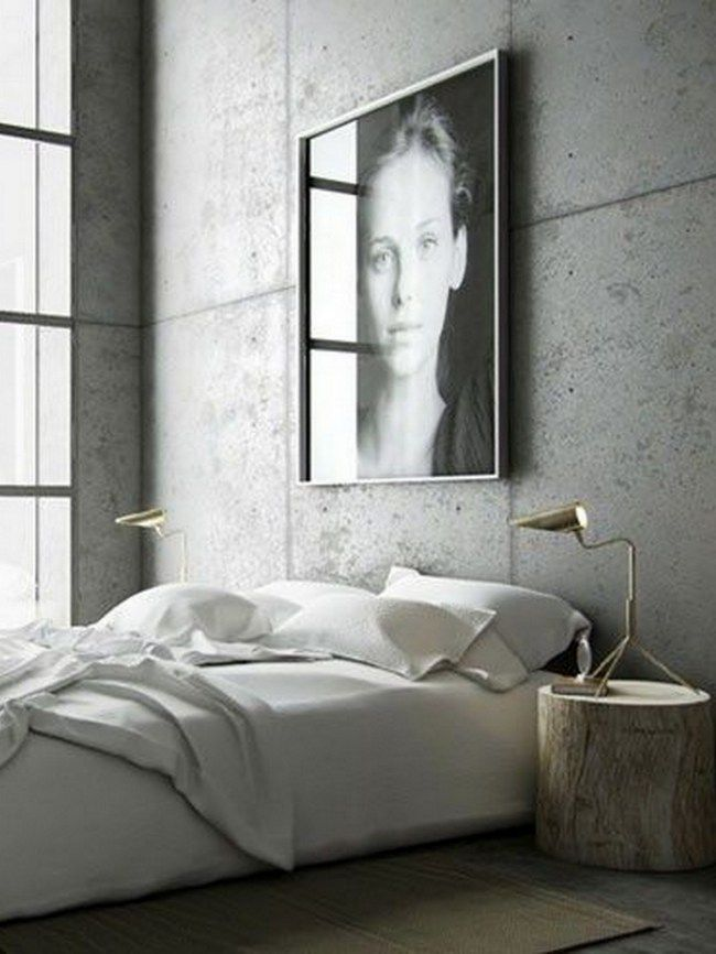 Cement Wall Bedroom