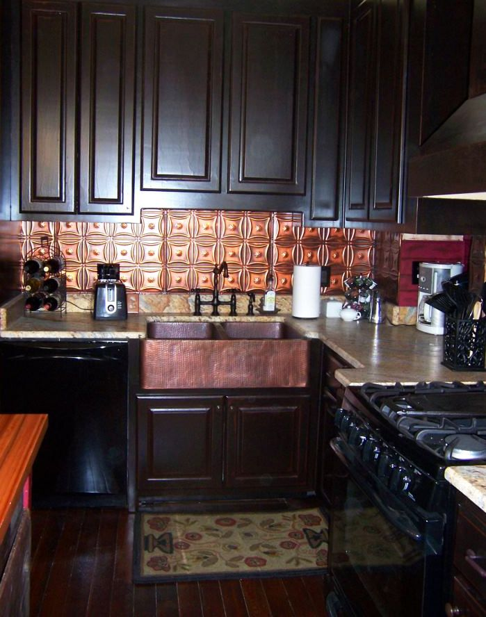 kitchen backsplash with dark cabinets how to install a beautiful tin backsplash beautiful 24580