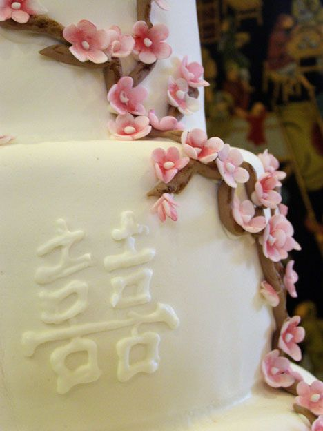 Double Happiness -  A common phrase on Chinese Wedding Cakes