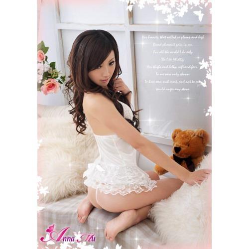 A299 White  - 2pc : dress, gstring  Free Size LD 70-86cm, Hips 70-90cm, Bra 32-34    IDR 90.000