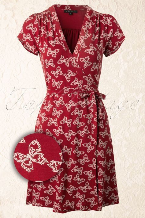King Louie - 40s Morpho Wrap Dress in Port Red with Butterflies - this is my favorite for this spring!