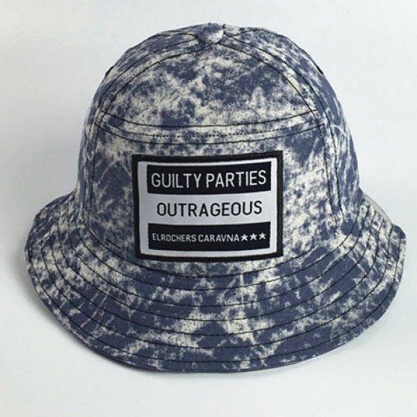 Stylish Letters Applique Embellished Splash-Ink Pattern Men's Bucket Hat #women, #men, #hats, #watches, #belts, #fashion, #style