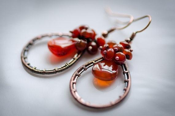 Copper earring honey orange carneol  copper earring  by ildikova, $25.00