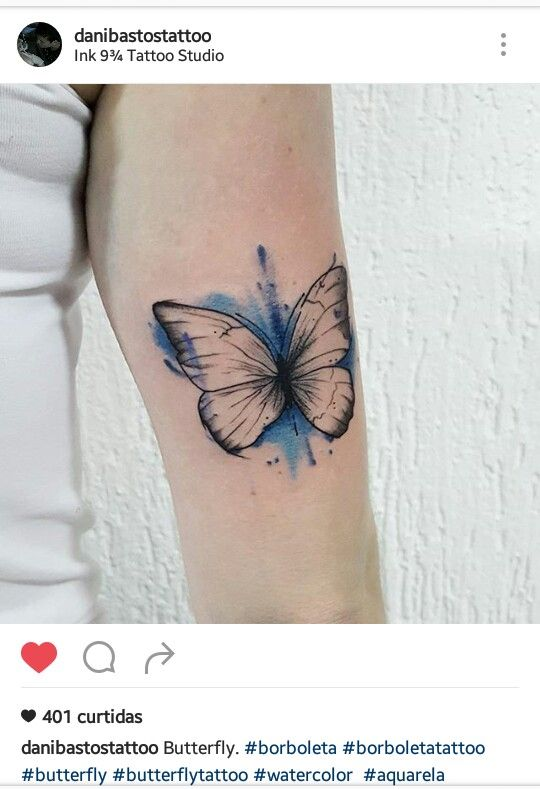 Tattoo borboleta aquarela delicada