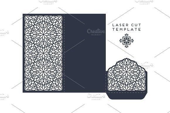 Vector wedding card laser cut template with mandala. Best Card Templates