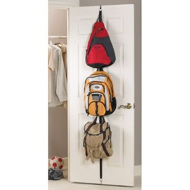 Backpack storage idea. School bags are the bane of my existence.
