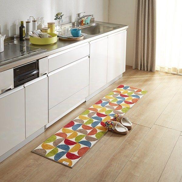 北欧デザイナーコラボ 滑りにくいキッチンマット ドローレス 約45cm×180cm