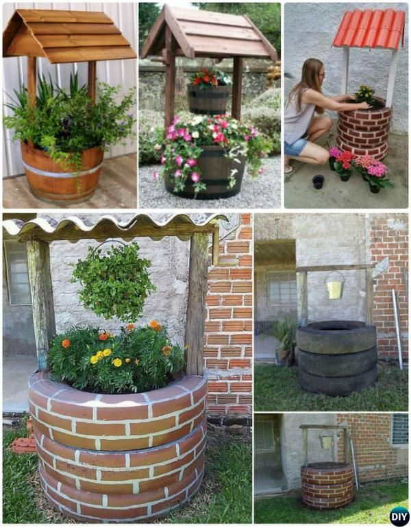 Diy Wishing Well Tire Planter Diy Tire Planter Ideas Diy Planters Diy Garden Decor Recycled Garden