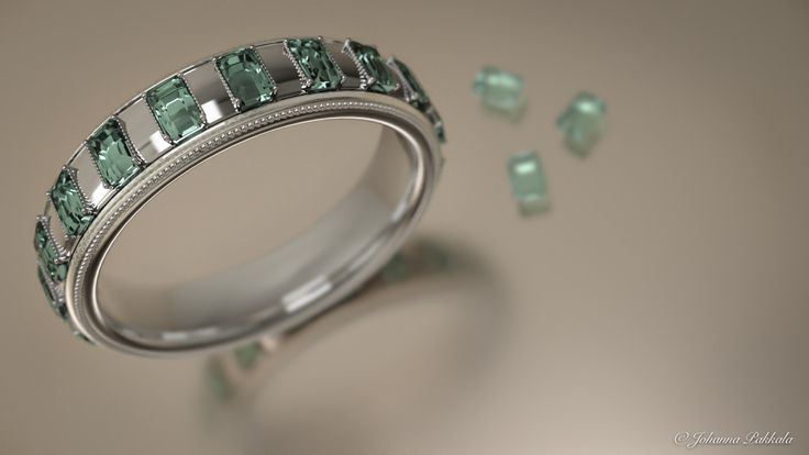 Silver ring with emerald stones. Made with Blender 3D. © Johanna Pakkala. – 3D jewellery, 3D modeling www.jossu.net