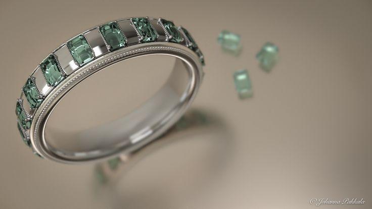 Silver ring with emerald stones. Made with Blender 3D. © Johanna Pakkala. – 3D jewellery, 3D modeling www.jossu.net