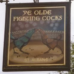 Ye Olde Fighting Cocks pub sign-link has interesting brief history of pub signs.