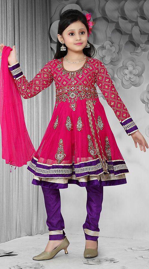 Dark Pink Net Readymade Kids Suit Dt502729 Kids Clothing