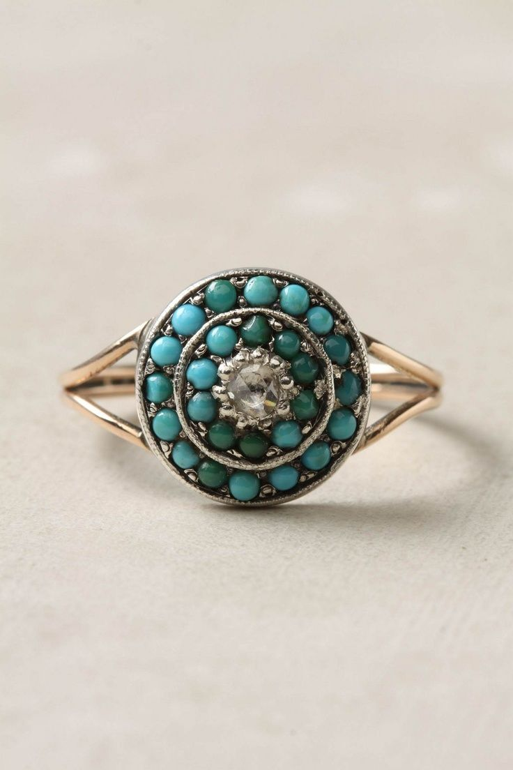 Victorian Turquoise and Diamond Ring. - I'd have diamonds added to the sides.