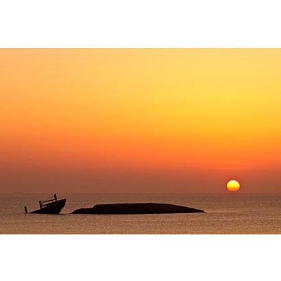 Greece kythira diakofti sunset shipwreck