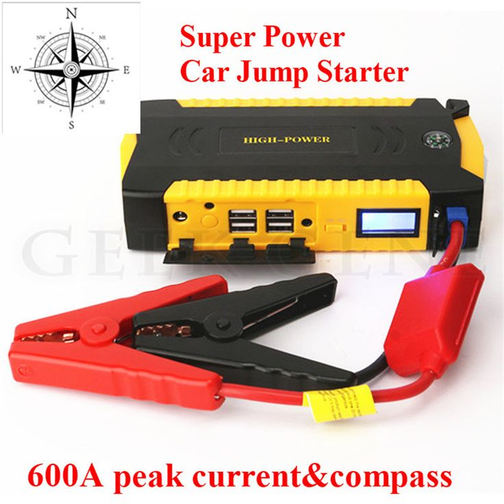 2017 Car Jump Starter 600A Peak Auto Emergency Power Bank  Charger for car Battery 4 USB Lcd Display Compass Free Shipping