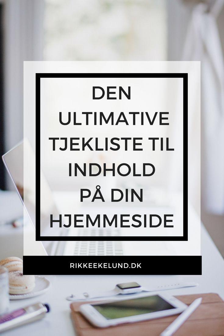 """Få tjeklisten på dansk med alt (og mere til), hvad du skal huske, når du planlægger indhold til din hjemmeside. Klik på """"gå til"""" og få listen.  #Contentmarketing #OnlineMarketing #Hjemmeside #Indhold"""