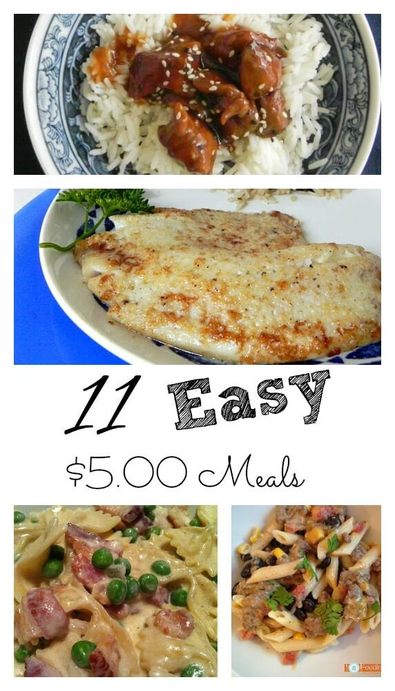 11 Easy $5.00 Meals for your family.  Your budget will love these easy meals.