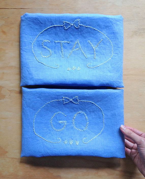 One of a kind embroidered pillowcase set : STAY/ GO  by SandraEterovic