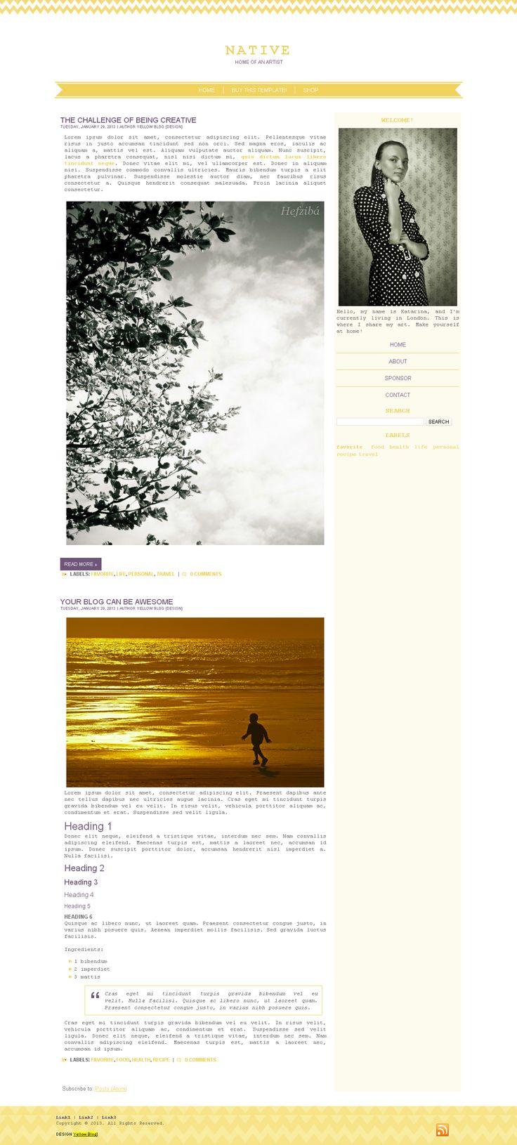 Native - Blogger, Worpress (exclusive) | Yellow Blog Design | LIVE DEMO http://1315v.blogspot.com ($27) #blog #layout #template #theme #custom #design #blogger #blogspot #wordpress #blogdesign