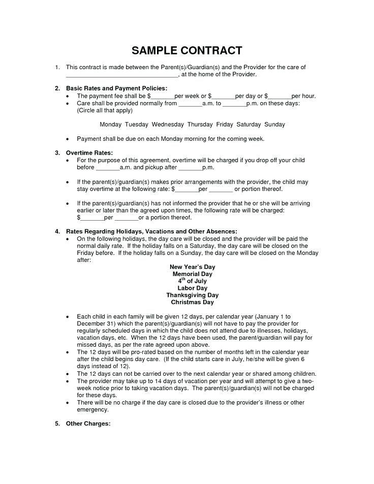 Examples Of Daycare Contracts Child Care Contract Template Free En