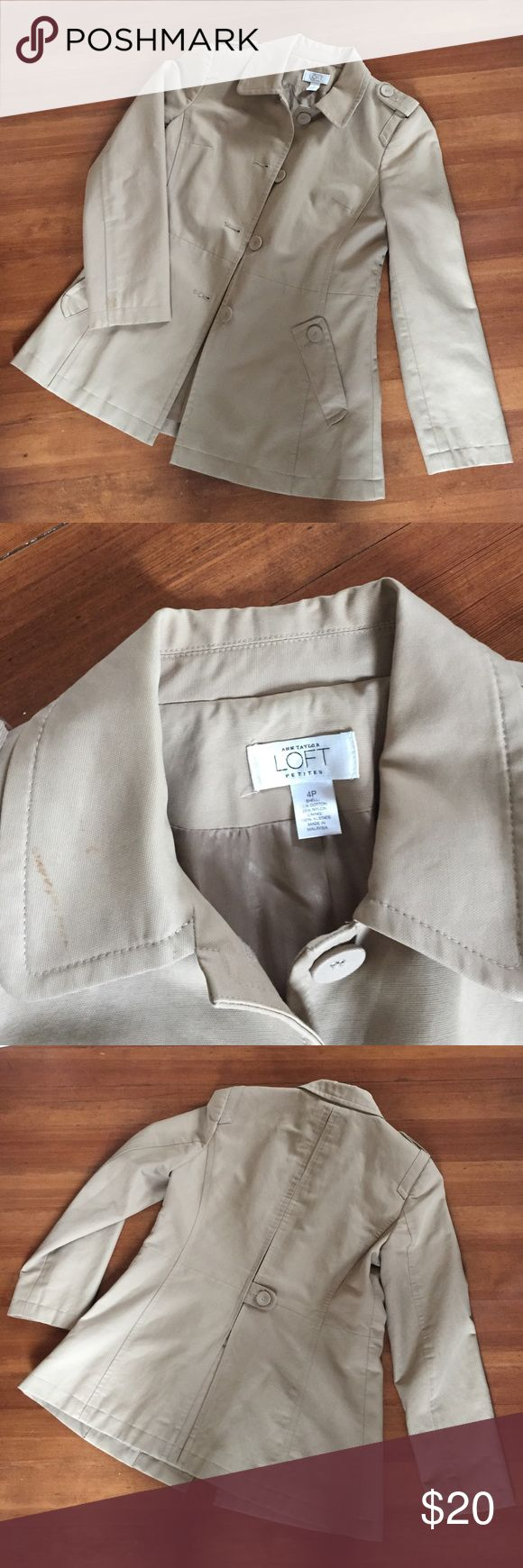Loft Tan Water Resistant Coat Very good condition Ann Taylor LOFT light weight water resistant coat. No stains or rips LOFT Jackets & Coats