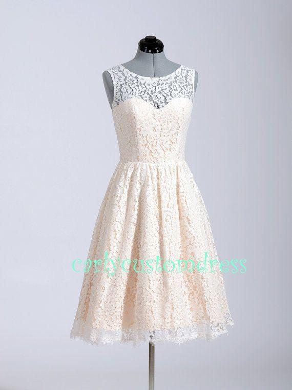 Court dentelle robe/demoiselle d'honneur robe/dentelle réception mi-longues robe/fait main blanc dentelle Ivoire robe de mariée/mariage Part...