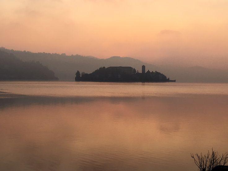 Lake Orta and Isola di San Giulio - Italy - Winter sunset
