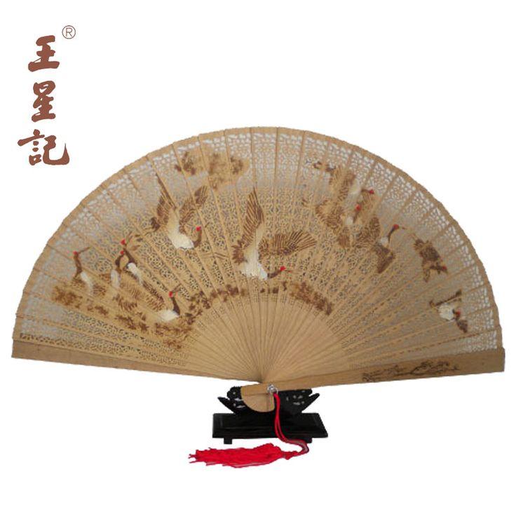 Hangzhou Wangxingji Burmese sandalwood folding fan gift fan Home Decoration 23CM one hundred Cranes - eBoxTao, English TaoBao Agent, Purchase Agent. покупка агент