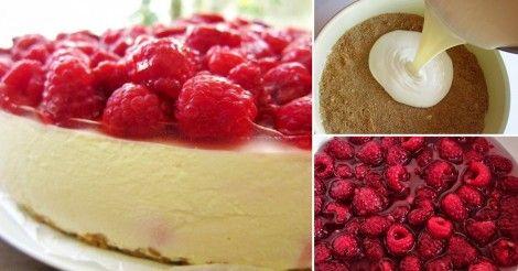 Aprende a preparar un delicioso cheesecake sin horno con frambuesas.