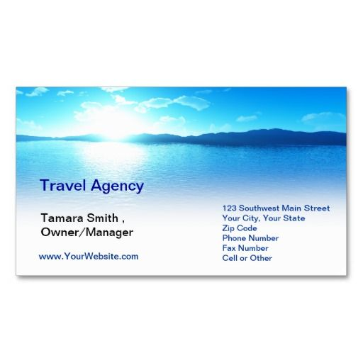 Travel Agency Business Cards Samples