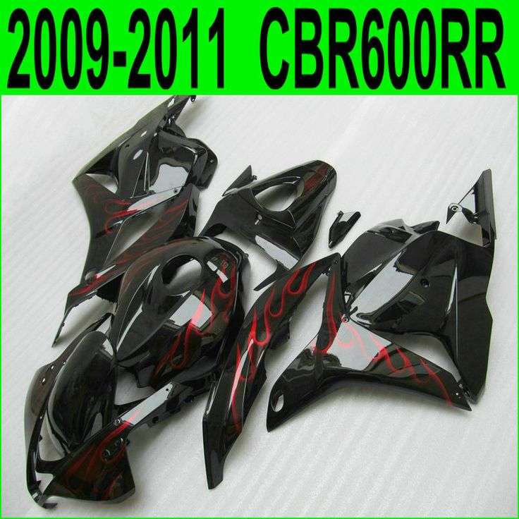 Aftermarket body parts fairing kit for Honda injection CBR 600RR 09 10 11 12 red flames black fairings CBR600RR 2009- 2012 23NJ
