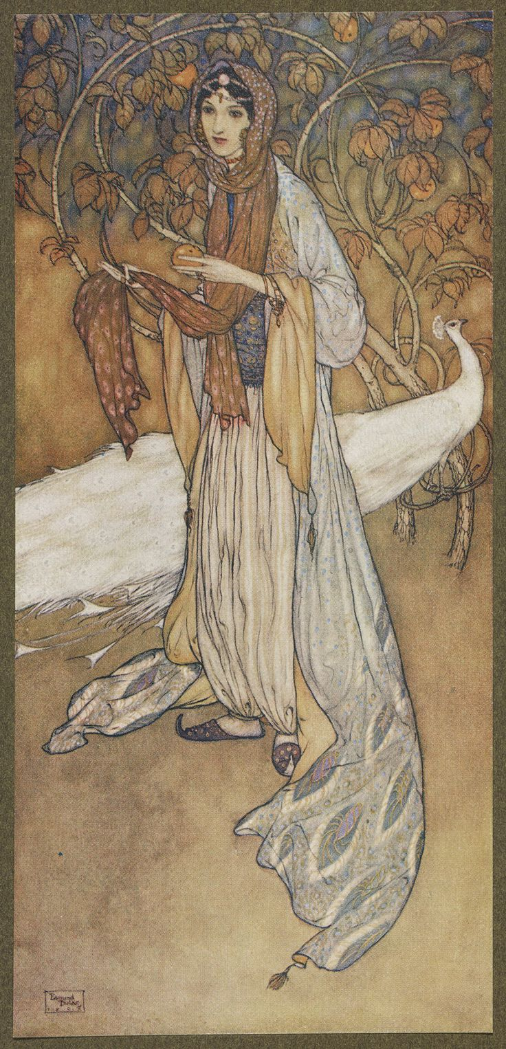 Scheharazade, the heroine of the Thousand and One Nights.  The illustrator for the Hodder and Stoughton 1907 limited edition of Stories from The Arabian nights was Edmund Dulac. Dulac (1882-1953) was born in France, but most of his creative work was carried out in England.    http://40.media.tumblr.com/a69f9cbb78e74c549f5f5ce052aed017/tumblr_nq65scdKqn1u0f1v1o1_1280.jpg