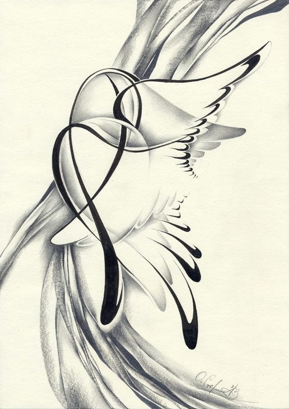 abstract pencil drawing contemporary original drawing wings surrealism