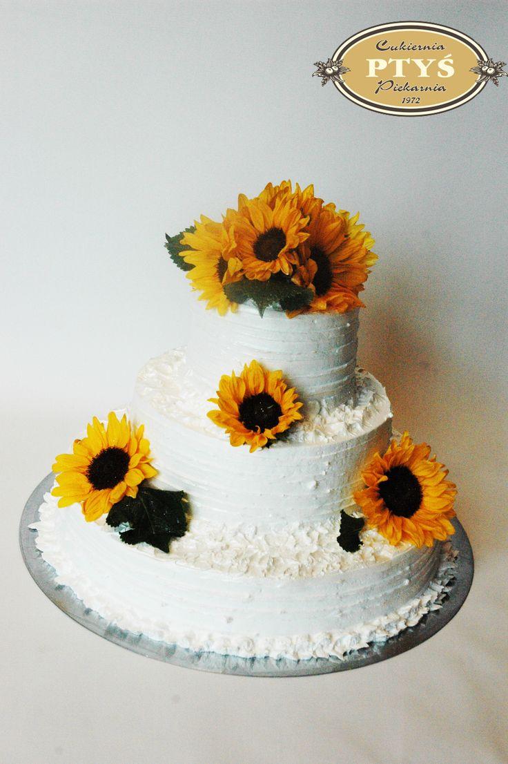Tort weselny, ze słonecznikami dla jednej z naszych pracownic - Agnieszki.